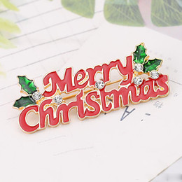 Best Family Christmas Gifts Australia - Christmas Theme Brooch Pin Merry Christmas Lettering Red Brooch Best Christmas Gift Accessories For Family And Friends And Lovers