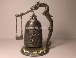Brass dragon Bell online shopping - New One pair Bronze Brass Dragon Buddha Temple Bell Shelf Decoration Korean buddha Bell Silver Hook Fast