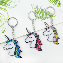 Acrylic key tAgs online shopping - New street brand unicorn key ring pendant acrylic tag bag car key accessories