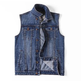 black denim waistcoat UK - Plus Size 5xl 6xl 7XL Denim Vest Men Outdoors Cotton Multi Pocket Sleevless Jean Jacket Tactical Waistcoat Coat