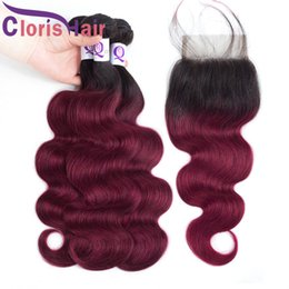 Discount red weave hair 4pcs Full Head 4pcs Burgundy Ombre Body Wave Human Hair Weaves Closure Red Colored Malaysian Virgin Human Hair 3 Bundles With