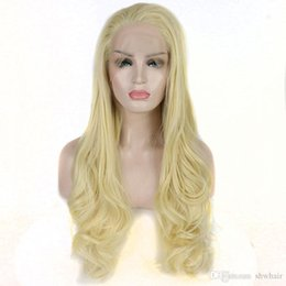 $enCountryForm.capitalKeyWord Australia - Long Synthetic Lace Front Wigs Blonde 613 Glueless Hand Tied Natural Wave Light Blond Heat Resistant Synthetic Wig For White Women