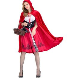 women s fancy dress Australia - New Designer Womens Costume Cosplay Little Red Riding Fancy Halloween Dresses For Women Hood Uniform Cloaks + Dresses Size S-XL Optional