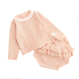 $enCountryForm.capitalKeyWord NZ - 2019 Autumn Pink Knitted Suits Baby Kids Clothes Sets Sweater Girls Sets Ruffles Long Sleeve Sweater+PP Short 2Pcs Kids Suits