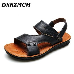 Discount branded sandals men - DXKZMCM Summer Style Genuine Leather Beach Casual Male Sandals Breathable For Men Walking Brand High Quality Comfortable