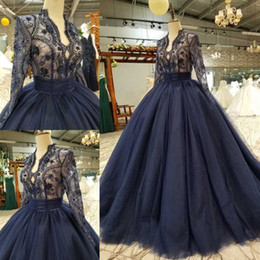 blue beaded Australia - Navy Blue Ball Gown Lace Evening Dresses Deep V Neck Long Sleeves Beaded Prom Gowns Sweep Train Tulle Formal Dress