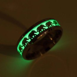 Glow Party Decorations Australia - Luminous Elephant Stainless Steel Ring Animal Pattern Decoration designer Ring Jewelry Gift Fluorescent Glow in the Dark rings drop ship
