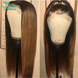 Root Color Wig Australia - Ombre Color T1b 30 Blonde Lace Front Human Hair Wigs Dark Roots Brazilian Virgin Hair Silky Straight Full Lace Wigs Pre Plucked Bythair