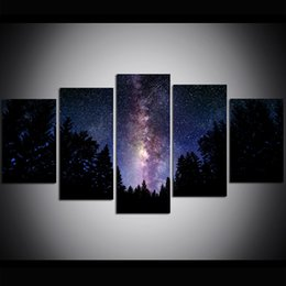 Large Size Art Wall Canvas UK - 5 Piece Large Size Canvas Wall Art The Milky Way Print Oil Painting Wall Art Pictures for Living Room Paintings Wall Decor