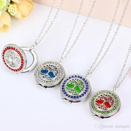 Tree Life Locket Pendant Australia - Free DHL Tree of Life Essential Oil Diffuser Necklace Aromatherapy Pendant Stainless Steel Open Locket Chains Gift with Refill Pads B175S F