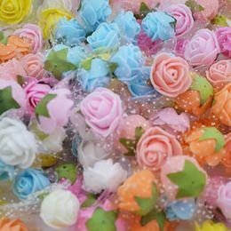 Foam Rose Heads White Australia - 100pcs lot 2cm Multi-use Pe Foam Rose Artificial Silk Flower Head For Diy Wreath Wedding Home Party Decorative Crafts Supplies