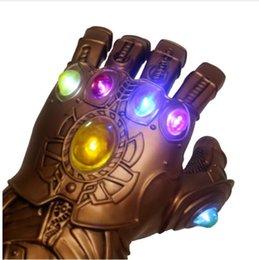 Glove Mask Australia - Thanos Avengers Infinity War Infinity Gauntlet Cosplay Gloves mask with LED Avengers Thanos PVC Glove Deluxe Party Costume Props