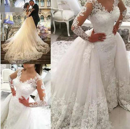 Wholesale Dubai Lace Mermaid Wedding Dress With Detachable Train Wedding Dresses Long Sleeve Beaded Embroidery Appliques Wedding Gown