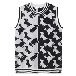 $enCountryForm.capitalKeyWord NZ - 2019 New design women's o-neck sleeveless dog print black white color block tank top knitted sweater vest