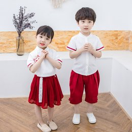 $enCountryForm.capitalKeyWord Australia - Children's Clothing 2019 Boys and Girls Chinese Style dress or pants Family Matching Outfits Summer Short-sleeved Tang suit Two-piece Sets