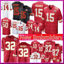 f8eedb49e8d Kansas City 15 Patrick Mahomes Chiefs Jersey 32 Tyrann Mathieu 87 Travis  Kelce 10 Tyreek Hill 14 Sammy Watkins 50 Houston Football Jerseys