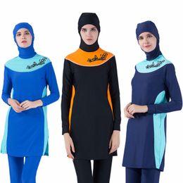 Modest Women Swimsuits Australia - Muslim Swimwear Mayo Women Modest Patchwork Full Cover Long Sleeve Tankini Plus Size Islamic Hijab Islam A Modest Swimsuit