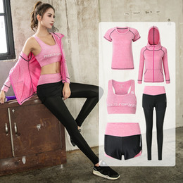 sport tight clothes Canada - Hot Sale Yoga Set Jacket+tights Pants+short+yoga Shirt+sports Bras 5 Pieces Running Fitness Gym Clothing Outdoor Sport Clothes
