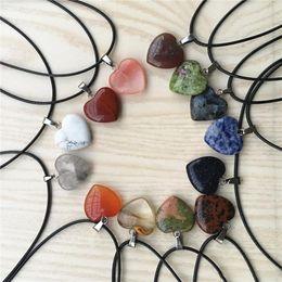 $enCountryForm.capitalKeyWord Australia - Heart Reiki Natural Stones Turquoise Pink Quartz Charms Pendant Necklace for Women Men Gift Rope Chain Accessories