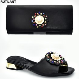 Shoe Purse Matching Australia - Latest Italian Shoes with Matching Bags Set Decorated with Rhinestone Nigerian Women Party Pumps Purse Luxury Sandals Women