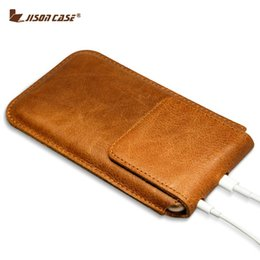 magnetic iphone case genuine leather NZ - Jisoncase Genuine Leather Coque For iPhone 6s Plus Case Sleeve Cover for iPhone 6 plus Bag Magnetic Closure Pouch Bag 5.5 inch