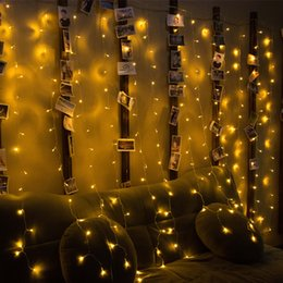 Wall Curtains UK - NEW 4M x 2M LED Window Curtain String Fairy Lights Curtain Garlands Strip Party Lights For Wedding Wall Decoration Wedding Party Home Garden