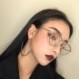 Wholesale Big Gold Circle Round Hoop Earrings For Women Simple Design Shiny Smooth Clear Charm Large Hollow Earring Fashion Jewelry A305