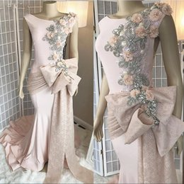 Size 16 faShion online shopping - Real Image Pearl Pink Evening Dresses Crystals Beads With Hand Made Flowers Scoop Neckline Formal Party Celebrity Gowns Prom Dress