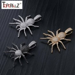 $enCountryForm.capitalKeyWord Australia - New Iced Out Cz Spider Pendant Necklace Mens Micro Paved Hip Hop Gold Silver Color Bling Charm Chains Jewelry MX190730