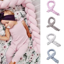 pink velvet bedding UK - Baby Bumper Bed Braid Knot Pillow Cushion Bumper Crystal Velvet For Baby Bed Decoration Soft Knotted Braided Pillow