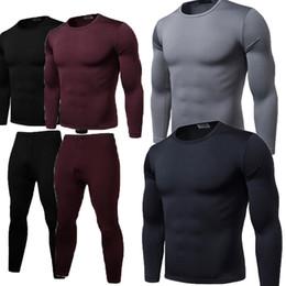 Wholesale long thermal underwear men resale online - 2020 Autumn Bodysuit Cotton Solid Men Boys Thermal Underwear Long Thermal Shirt Top Bottoms Trousers