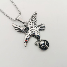 eagle pendant stainless NZ - New men's top quality hip hop Necklace antique 316L Stainless Steel Necklace Flying Eagle Hawk Skull Pendant Necklace