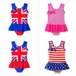 Girls bathinG suit bikini online shopping - Children UK American Flag Swimwear Baby Designer Swimwear Summer Ruffle Star Stripe Print Bathing Suit Baby Bikini INS Kids Swimsuit E294