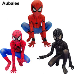 spider man cosplay zentai UK - Kids Boys Spider-man Homecoming Costume Children Amazing Spiderman Red Black Superhero Spandex Zentai Suit Party Cosplay OutfitMX190923
