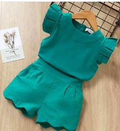 Conjuntos de ropa para niñas Verano Nueva Ropa para bebés Ropa de manga corta + Pantalón corto 2 piezas Ropa para niños Trajes en venta