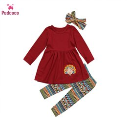 turkey clothing Australia - Pudcoco Toddler Kids Baby Girls Clothes Turkey Outfits Clothes T-shirt Tops Dress Shirt Pants Thanksgiving Day Christmas Gift