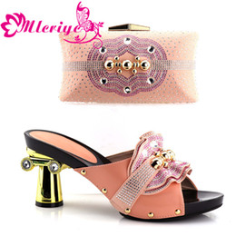 pink glitter shoes NZ - Pink Color African Matching Shoes and Bags Italian In Women Nigerian Wedding Shoes and Bag Set Nigerian Shoes and Matching Bags