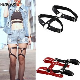 a86b2562c19 Fashion Adjustable Double Punk Garters Leg Ring Harness Hot Rivet Vintage  Rock Sexy Harajuku Style PU Leather Garter Belt Women