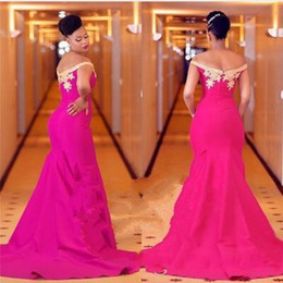 formal evening dresses for plus size Canada - Gorgeous Gold Lace Appliques Mermaid African Prom Dresses 2019 For Black Girls Formal Sweep Train Fuchsia Dress Evening Wear Plus Size