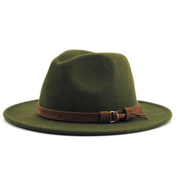 cb4cdc937a671 Women Elegant Winter Hat UK - Women Men Wool Fedora Hat With Leather Ribbon  Gentleman Elegant