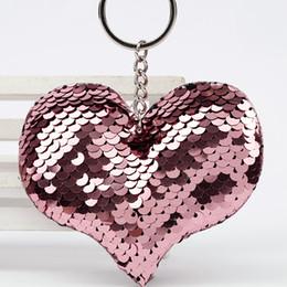 Heart Shaped Handbags Wholesale Australia - Handbag Pendant Heart Shape Keychain Women Car Bag Accessories Keyring Cute Glitter Pompom Sequins Key Chain