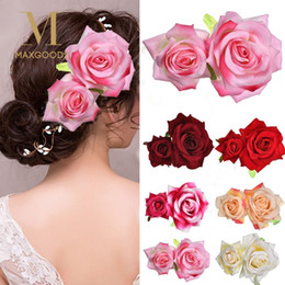 $enCountryForm.capitalKeyWord UK - 1Pcs Trendy Bridal Rose Flower Hairpin Women Hair Clips Brooch Wedding Party Headdress Headwear Party Festival Hair Accessories