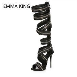 New Zipper Design Women Summer Knee High Punk Boots Open Toe Thin High  Heels Ladies Hollow Gothic Shoes Woman Gladiator Sandals 14ca0e585444