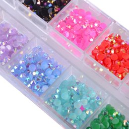 crystal gems Australia - 12 Color Box 3mm Crystal Colorful Jelly Rhinestones 3D Nail Art Decor Glitter Gems Stones Manicure DIY Set Flatback Beads CH128