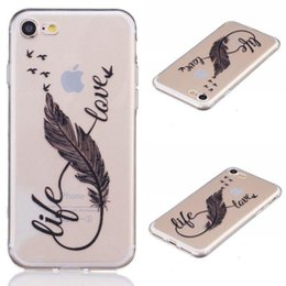 crystal clear cell phone Australia - Wholesale New Thin Black Feathers Painted Pattern Soft TPU Slim Crystal Clear Shockproof CELL PHONE CASE FOR IPHONE
