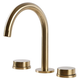 gold handles UK - S Style Black plated Brushed gold brass bathroom sink faucet Basin Cold Hot water faucet,top quality three holes two handles