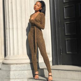 Glitter Sexy Women Jumpsuits Deep V Neck Top Long Pants Ladies Sparkly Clubwear Solid Long Sleeve Jumpsuit на Распродаже