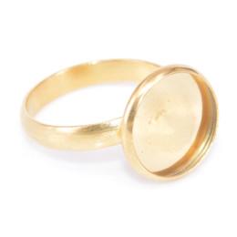Ring Steel Diy NZ - shukaki 20pcs gold plated black 12mm diy cabochon ring settings stainless steel adjustable ring bezel settings diy bases for rings making