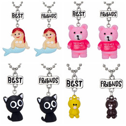 """Bff Necklaces Australia - 2PCS Pair """"Best Friend"""" Resin Mermaid, Bear, Cat Pendant Necklaces Kids Imitation BFF Necklace For Children Jewelry Birthday Gifts"""