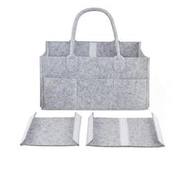 NewborN baskets online shopping - Baby Diaper bags Gray infant Diaper Tote Bag Portable Car Travel Organizer Felt Basket newborn Girl Boy nappy Storage bag MMA2351